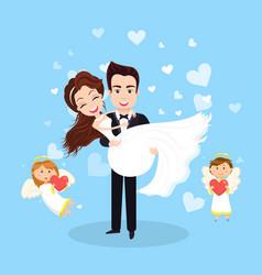 Wedding postcard groom and bride couple vector