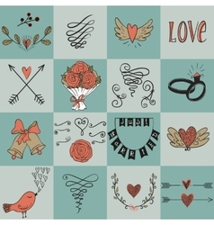Set of icons for Valentines day Mothers day vector image