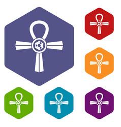 egypt ankh symbol icons set hexagon vector image vector image
