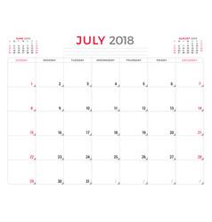 july 2018 calendar planner design template week vector image