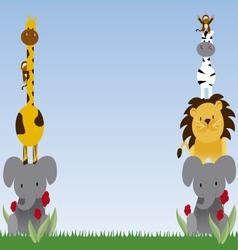jungle animals cartoon 4 vector image