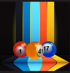 3d bingo lottery nalls over vertical stripes and vector image