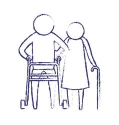 blurred blue silhouette of pictogram elderly vector image