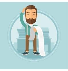 Businessman holding long bill vector image vector image
