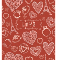 Seamless hearts pattern Valentines day vector image vector image
