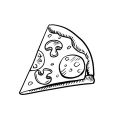 Black and white slice of pepperoni pizza vector image