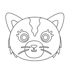 Cat muzzle icon in outline style isolated on white vector