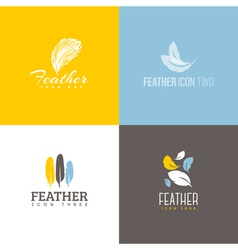 Feather icon Set of logo design templates vector image