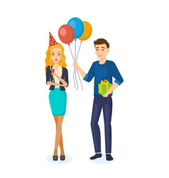 Girl drinks wine at birthday guy with gifts vector