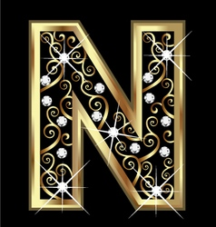 N gold letter with swirly ornaments vector image