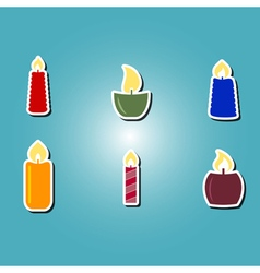 set of color icons with candles vector image