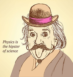 Sketch Albert Einstein in vintage style vector image vector image