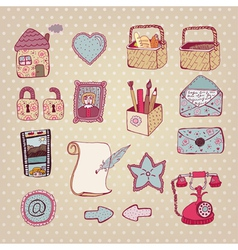 Vintage drawn objects vector