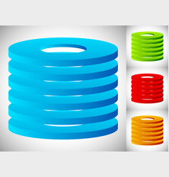 Abstract cylinder barrel icon in 3 color stacked vector