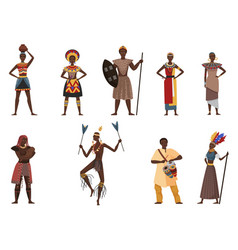 african tribe people native village ethnicity set vector image