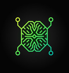 ai digital brain outline green icon or vector image