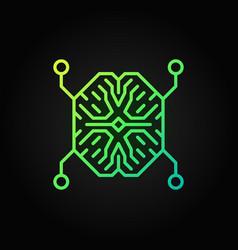 Ai digital brain outline green icon vector