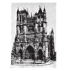 Ameins cathedral view from the front vintage vector