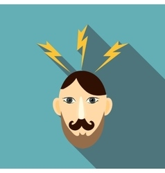 Angry man icon flat style vector image