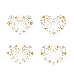 Beautiful heart-fireworks set gold romantic vector