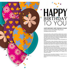 birthday card with paper balloons and text vector image