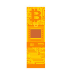 bitcoin atm crypto currency cash dispenser vector image