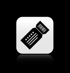 Black ticket icon isolated on black background vector