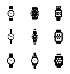 Black wristwatch icon set vector