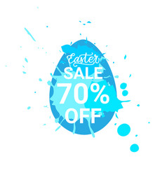 blue easter sale sticker egg with paint splash vector image