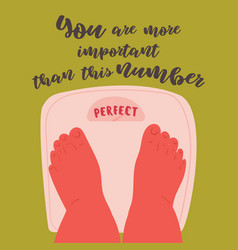 Body positive feet on scales with perfect weight vector