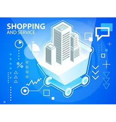 Bright shopping trolley and buildings on blu vector