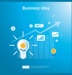 Business idea solution with light bulb dollar vector