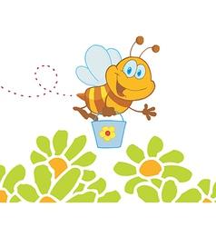 Cartoon Character Bee Flying Bucket In The Flowers vector image