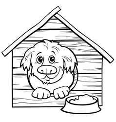 cartoon dog in doghouse coloring book page vector image