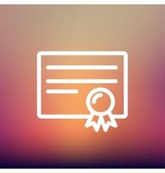 Certificate thin line icon vector