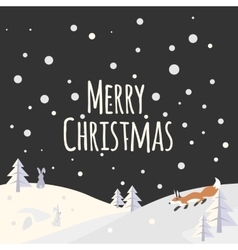 Christmas landscape with trees and forest animals vector image