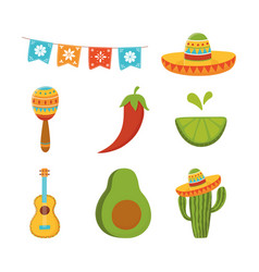 Cinco de mayo guitar cactus maraca lemon avocado vector