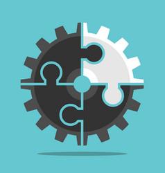 cog wheel unique puzzle vector image
