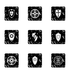 Combat shield icons set grunge style vector