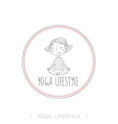 Cute girl yoga exercising vector