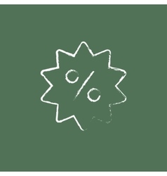 Discount tag icon drawn in chalk vector