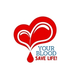 Donation blood icon with heart and drops vector image
