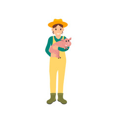Farmer with pig on hands icon vector