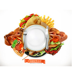 Fast food logo sandwich steak chicken french vector
