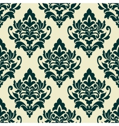Floral green damask seamless pattern vector image