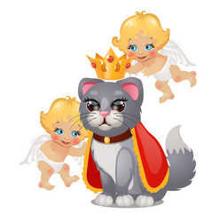 Funny cat poster in royal crown and two cute vector