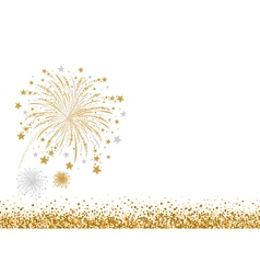 Gold and silver firework design on white ba vector