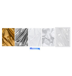 Gold fabric silver foil white paper transparent vector