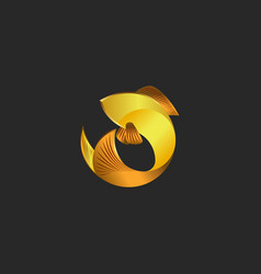 Gold fish logo in the shape of a circle vector