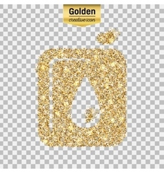 Gold glitter icon of canister isolated on vector